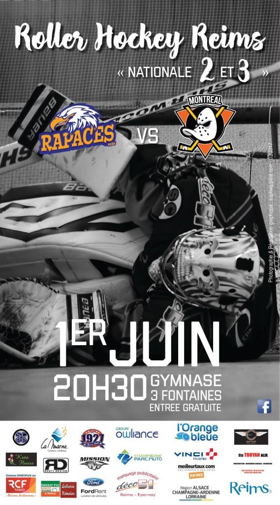 affiche match amical RHR vs Ducks Monréal 1er juin 17