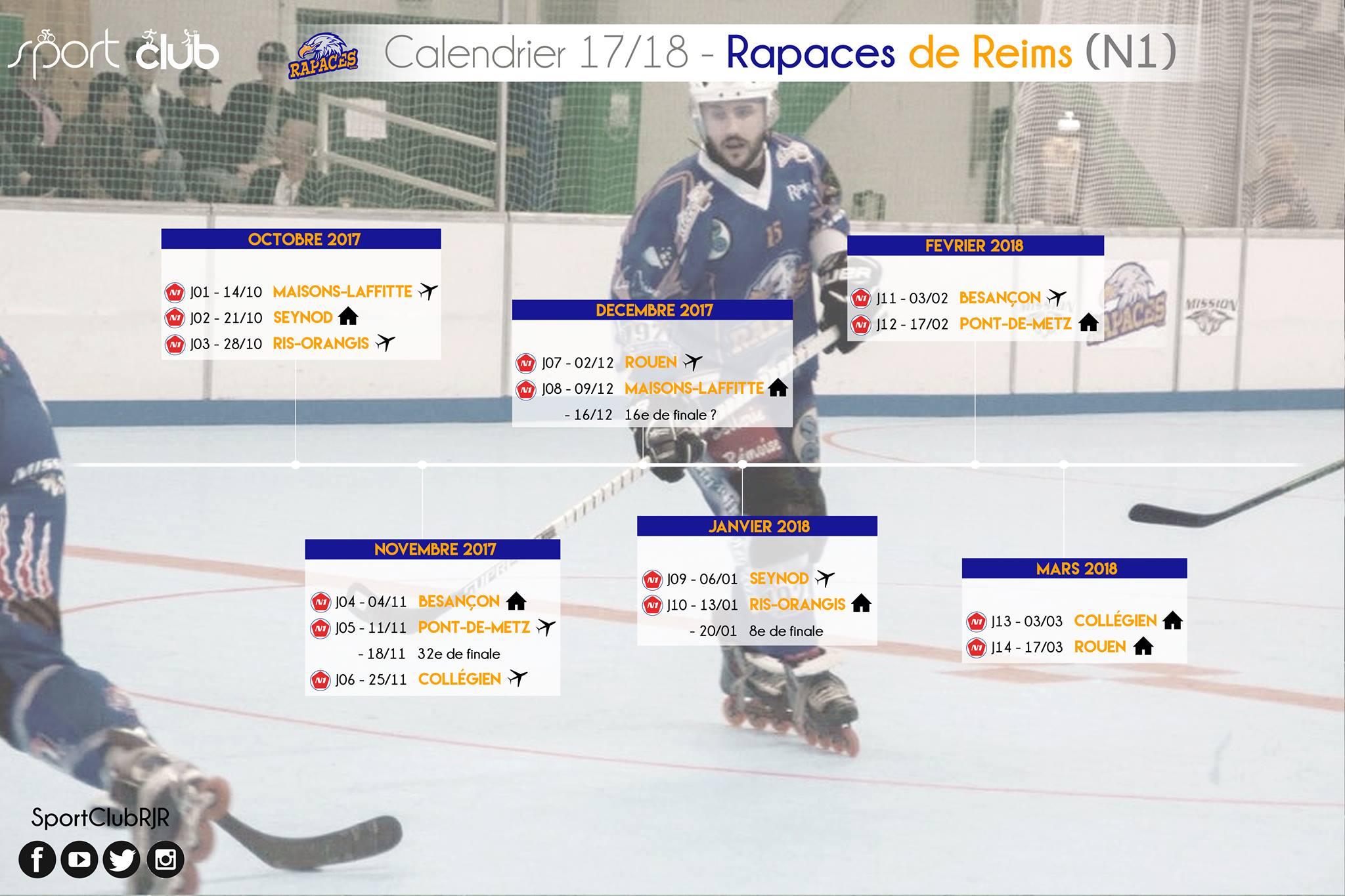 N1 – planning des rencontres 2017 – 2018 – Roller Hockey Reims