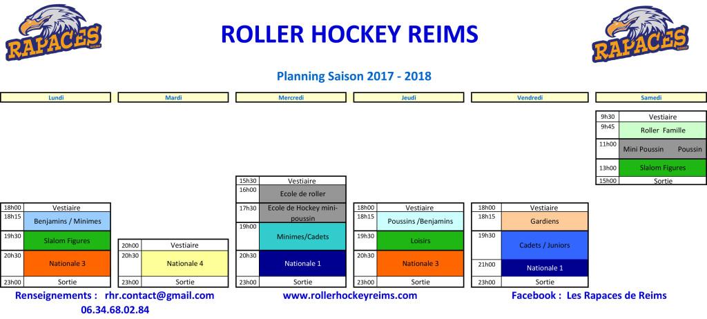 planning entrainements 2017-18