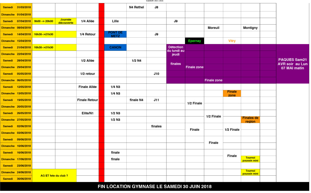 Planing compétitions RHR 2017 2018