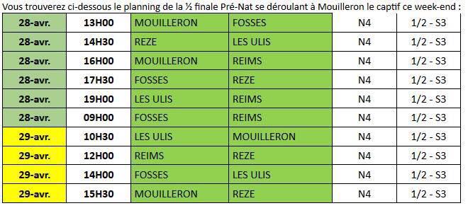 planning demie finale N4 - 2018
