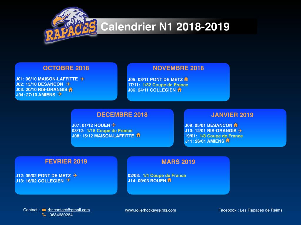 calendrier N1 2018-19