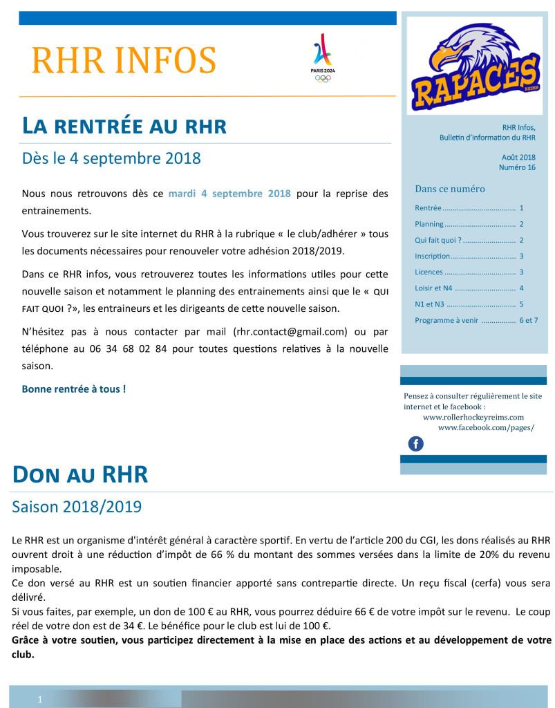 RHR infos n°16 - aout 2018