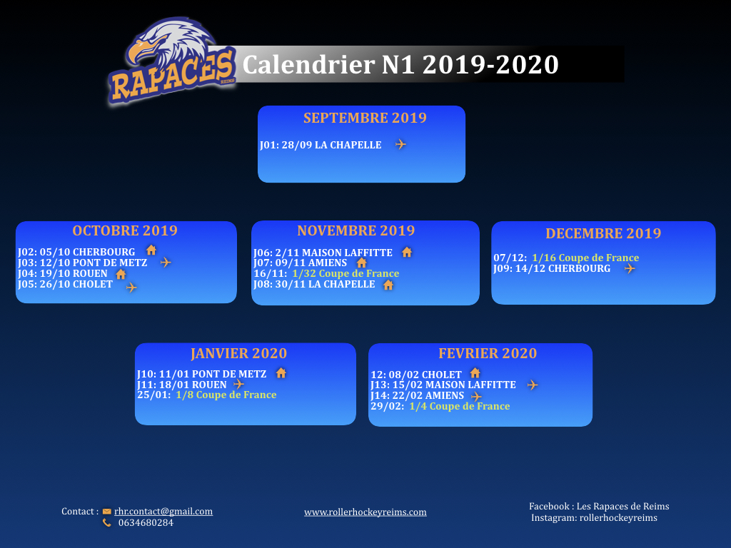 Calendrier Coupe De France 2020 2019.Calendriers Des Rencontres Nationale 1 Roller Hockey Reims
